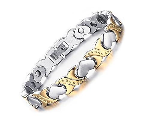 Vnox 9.5mm Frauen Edelstahl Herz Link Magnetische Heilung Armband,Silber Gold,20cm