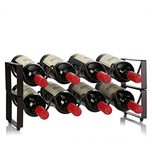 LKK Hochwertiges Metall-Weinregal 8-Flaschen-Arbeitsplatte-Kabinett-Weinhalter-Lagerung, schlank und schick aussehend - minimaler Zusammenbau erforderlich.