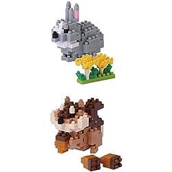 Dos conjuntos de Kawada Japón Nanoblock de Pequeños Animales - ardilla y conejo