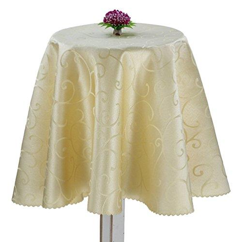 Anguang elegante jacquard tovaglia tinta unita gonna da tavola per compleanno partito ristorante beige (220cm (rotonde))