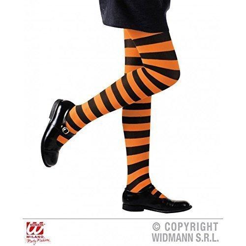 e schwarz gestreift für Kinder von 4-6 Jahren für Fasching / Halloween / Hexenkostüm / Kinderkostüm / Halloweenkostüm (Orange Und Schwarze Strumpfhose)