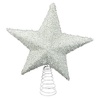 26cm Blanca brillantes Tree Top estrellas – Decoraciones de Navidad – Adornos del árbol de navidad