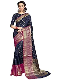 Soru Fashion Striped Kanjivaram Art Silk, Banarasi Silk, Jacquard Saree (625_Dark Blue)