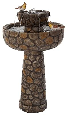 Cobbled Birdbath Solar Water Feature by Primrose
