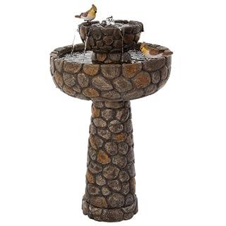 Brunnen und Mehr Solarbetriebenes Kopfstein-Vogeltränke 68cm