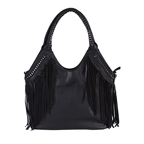 Damara-Womens-Soft-Weave-Tassels-Top-Handle-PU-Tote-Bag