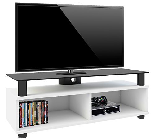 VCM 14230 Clunis Meuble TV Roulettes Incluses MDF/Aluminium/Verre Laqué Blanc/Noir