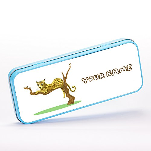 Customized Lazy Leopard on Tree Africa Children Kids Personalised Schreibwaren-Metalldose - blue - Lazy Leopard