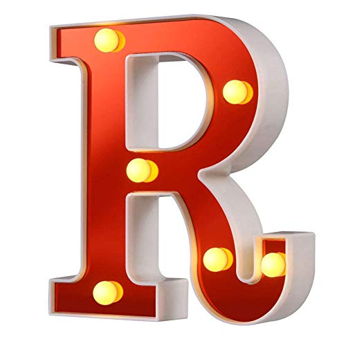 LED Marquee Letter Lights 26 Alphabet Red Pleasent Indoor Bright Night Lights Sign for Confession Wedding Birthday Party Battery Powered Christmas Night Light Lamp Home Bar Decoration,6.30