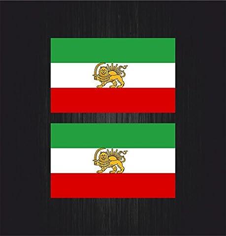 2x Autocollant sticker voiture drapeau iran iranien schat chat perse empire