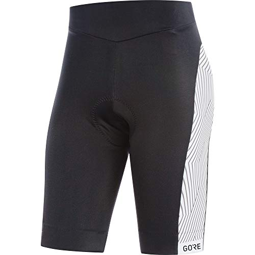 GORE WEAR C3 Mallas cortas de ciclismo con badana para mujer, Talla: 34, Color: Negro/Blanco