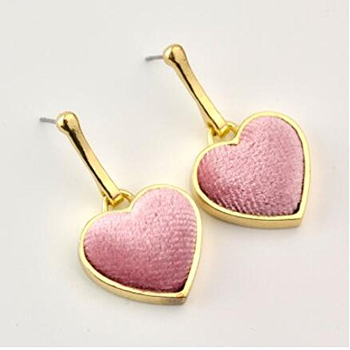 Stud Earrings Spring New Personality Love Heart Heart Earrings Simple Wild Stereo Red Earrings Earrings,Pink