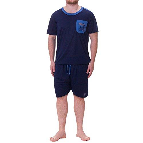 Henry Terre Shorty Pyjama Herren T-Shirt Kurze Hose (5XL, Navy)