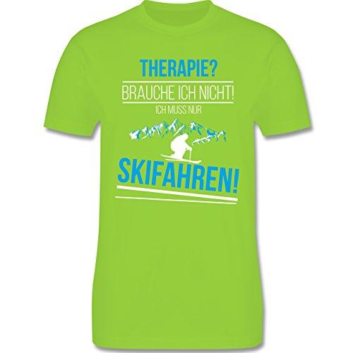 Shirtracer Wintersport - Therapie? Brauch Ich Nicht! Skifahren! - Herren T-Shirt Rundhals Hellgrün