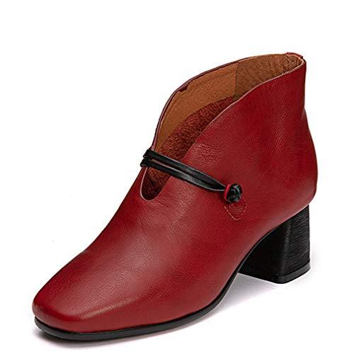 Damenschuhe, Retro Leder Mode Dicke Ferse einzelne Schuhe Damen Fallen Keil Mode Stiefel (Farbe : C, Größe : 39)