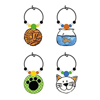 Life with a Cat Wine Glass Charm by Cypress Home