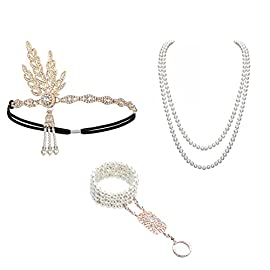 1920 Accessories Headband – 1920 Accessories Set 1920 Headband Bracelet Ring Pearl Necklace Earring For Women Flapper Costume Theme Party