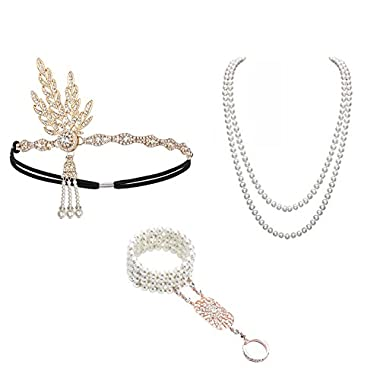 1920 Accessories Headband – 1920 Accessories Set 1920 Headband Bracelet Ring Pearl Necklace Earring For Women Flapper…