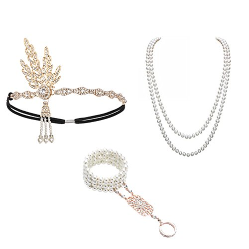 - 41wQk2CLtNL - 1920s Accessories Set Great Gatsby – For Women Headband Bracelet Pearl Necklace For Party  - 41wQk2CLtNL - Deal Bags
