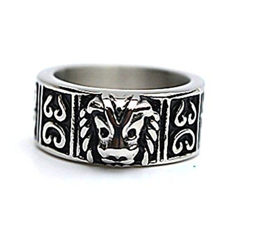 Epinki Herren Ringe, Edelstahl Herrenring Retro König Form Löwe Kopf Silber Schwarz 7.5mm (Kostüm König Titan)