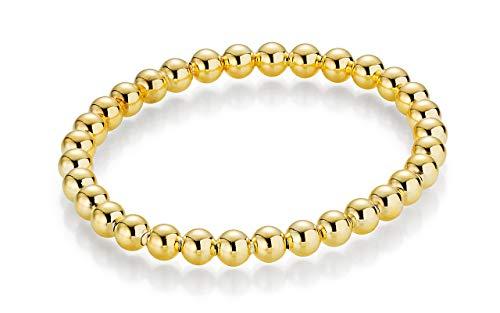 YDF Kugelarmband Flexibel 6 mm Länge 18 cm 925 Sterlingsilber Gelbvergoldet Dehnbar Elastisch Top-Qualität (Unter $5 Frauen Diamant-ringe Für)