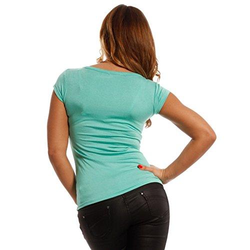 Young-Fashion Damen Basic Shirt T-Shirt U-Neck Soft Mint