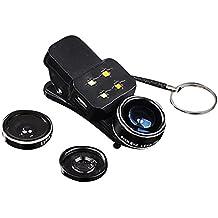 Highdas 4 en 1 luces de destello del flash de Selfie LED + lente de ojo de pez de 198 ° + lente de granangular de 0.4x + lente de 15x Macro para la tableta del ipad del teléfono
