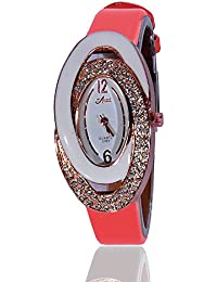 Fusine™ Amni Fashion Double Stone Studded 3D Leather Watch For Women (Oval) Party Wear (Red)