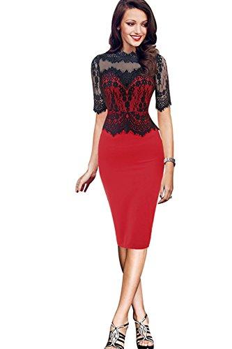 Damen Elegant Kleid Rundhals Cocktailkleid Knielanges Spitzenkleid Stretch Ball-Abendkleid Rot 2XL (4-licht-post Klassische)