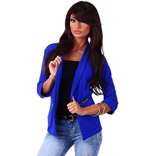 10744 Fashion4Young Damen Kurzjacke Blazer Jäckchen Jacke knopflos mit Reverse Gr.36/38 (S/M=36/38, Royalblau) (Blaue Jacke Blazer)