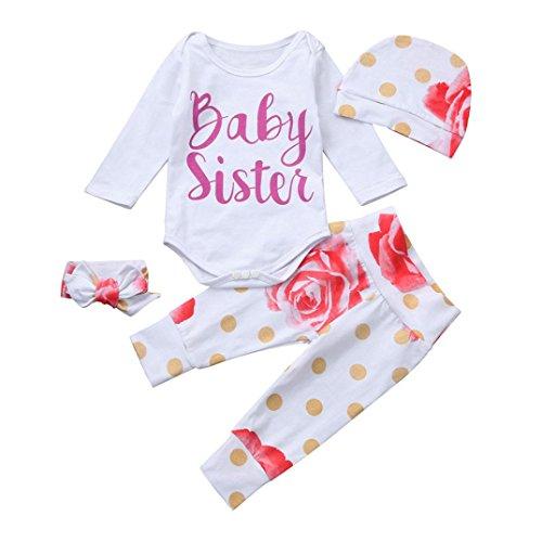 Anziehsachen Säugling Strampler Baby Winteroverall 4 Stück Outfits Kleidung Set Mädchen Brief Spielanzug Weiß Tops Blumen Hose Rosa Hut (70cm, Weiß) (Halloween Kostüme Für Neugeborene)