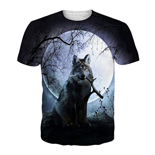 3D Wolf T-Shirt Herren EUR Größe Kleidung Sommer Hip Hop Kleidung Unisex Funny Tee Tops EUR M