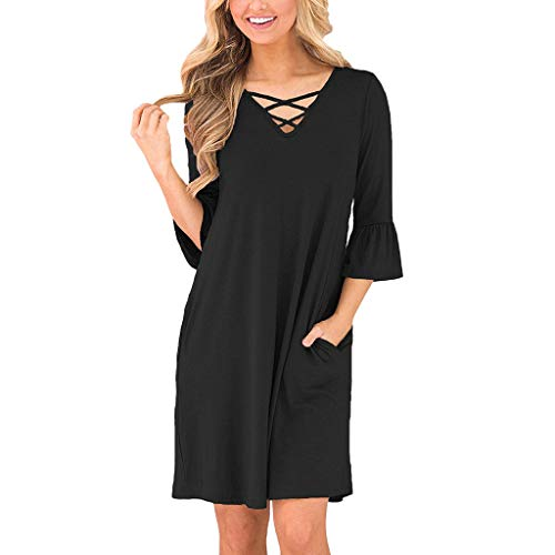 Ninasill Hot!Cross Strap Holow T-Shirt Kleid Trompete Ärmel mit Tasche, gerades Kleid, Casual Groß Sommer Mini Rock Asian M= US S schwarz -
