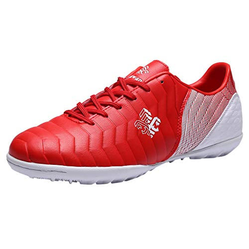 Paar Outdoor rutschfeste Fußballschuhe Sportschuhe Kinder Sneaker Low-Top Laufschuhe Fitnessschuhe Training Gym Schuhe Turnschuhe für Damen Herren Mädchen Junge, Rot, 33 EU