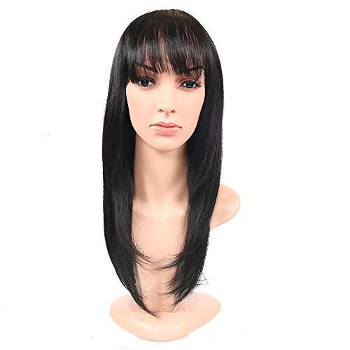 Mamas langes Haar kann zusammengebunden werden 55cm langes Haar Frau mittleren Alters Perücke Simulation schwarz atmungsaktiv Tante Frisurdurch WIG MINE (Mama 2 Perücke)