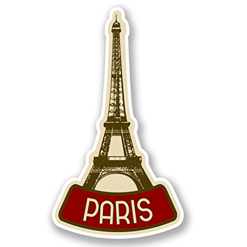 2 x 10cm/100mm Parigi Francia adesivo vinile adesivo da viaggio per portatile auto bagagli iPad segno divertimento #4619