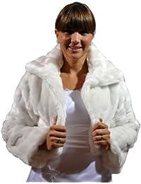 Bolero con cuello para novia, piel de imitación de visón, manga larga