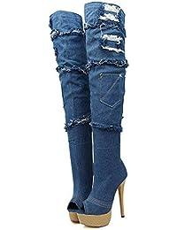 L@YC Botas De Moda De Mujer Cuero SintéTico OtoñO Invierno TacóN De aguja Para El Vestido Casual/azul