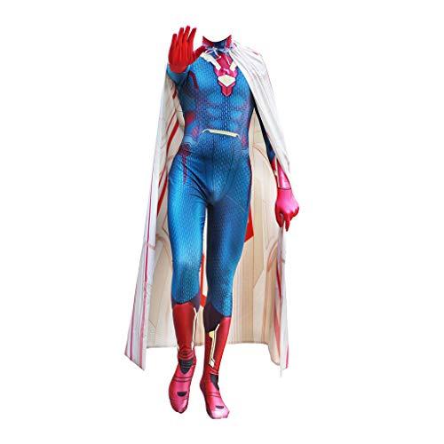 GanSouy Avengers: Age of Ultron, Vision Kleidung - Cosplay Kostüm Schlacht Anzug Kostüm Rollenspiele Kleidung Bodysuit Spandex Jumpsuits,Vision-M (Of Age Ultron Vision Kostüm)