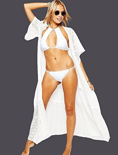 Chiffon Kimono Cardigan Lungo Donna Estivo Pizzo Floreale Chiffon Boho Copricostume a Maglia Abito da Mare Spiaggia per Costumi Da Bagno Cape Bikini Cover Up - BienBien Bianco