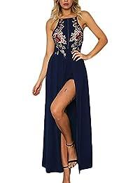 BoBoLily Donna Vestiti Lunghi Eleganti da Cerimonia Estivi Backless Vestito  da Sera Tute Ricamo Fiori con 528478ad6ce