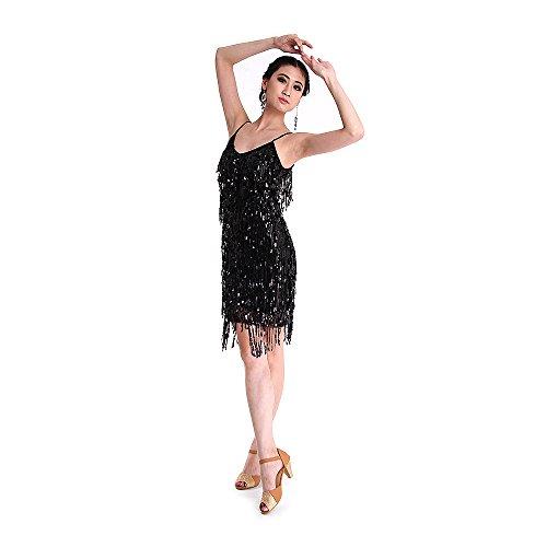 SymbolLife Fransenkleid mit Pailletten Damen sexy Tanzkleidung Hochzeitkleid Tanzkleid Partykleid Mini Charleston kleider Kleid Darbietungen Tanzkostüme für Karneval, (Flapper Kostüm Gold Dance)
