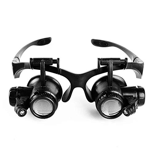 10x 15x 20x 25x Stirnband-Lupe, Schmuckuhr-Reparatur-Lupe mit 2 LED-Lichtern und 4 Wechselobjektiv für Elektronik-Wimpern-Kunsthandwerk-Schmuck-Reparatur beleuchtete Lupe -