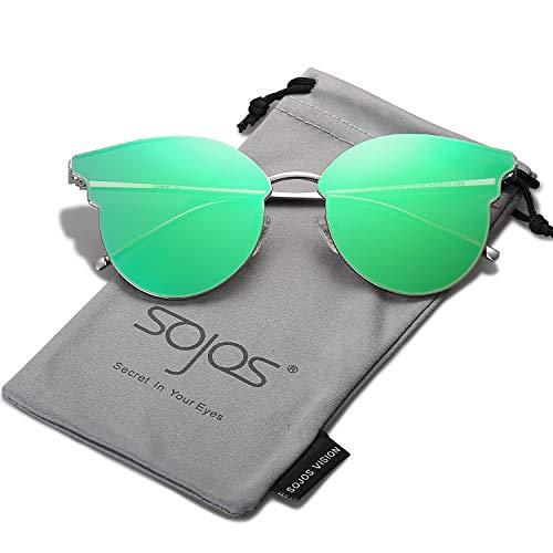 SOJOS Katzenaugen Sonnenbrille Runde Schick Groß Verspiegelt Modernem Design Cateye SJ1055S mit Silber/Grün verspiegelt mit Lederbox