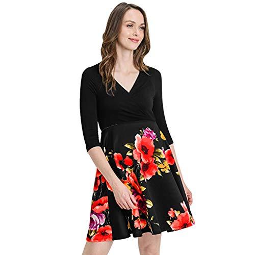 Lenfesh Abendkleid Umstandsmode Mode Schöne Kleider für Schwangere Damen Umstandskleid Schnitt Sommerkleid Patchwork Blumendruck Floral Sommerkleidung (Italienischen Charme Prinzessin)