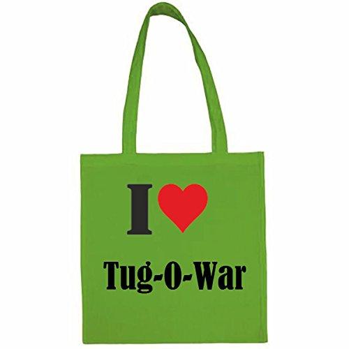 Tasche I Love Tug-O-WarGröße 38x42 Farbe Grün Druck Schwarz