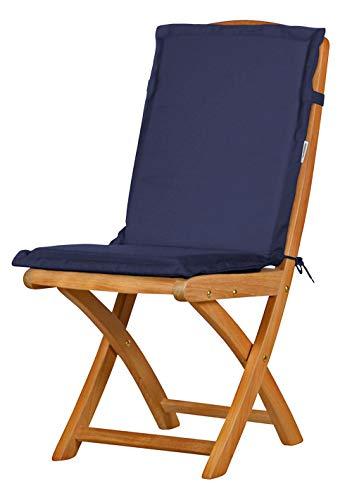 2 x Dunkelblaue Sitzauflage für Garten-Stühle & Klappstühle 88 x 40 cm ✓ Premium Polster-Auflage aus lichtechtem Dralon ✓ Maschinen-waschbares Stuhl-Kissen ✓ Höchster Sitzkomfort für Niedriglehner ✓