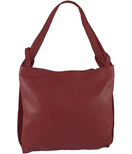 Freyday 2in1 Damen Handtasche Rucksack Designer Luxus Henkeltasche aus 100% Echtleder (Dunkelrot)