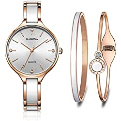 MAMONA Women's Watch and Bracelet Gift Set Rose-Gold Stainless Steel and White Ceramic Band L3877RGGT
