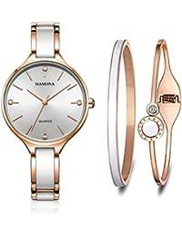 MAMONA Conjunto de regalo de reloj y brazalete para mujer de acero inoxidable y cerámica oro rosa con acentos de cristal L3877RGGT